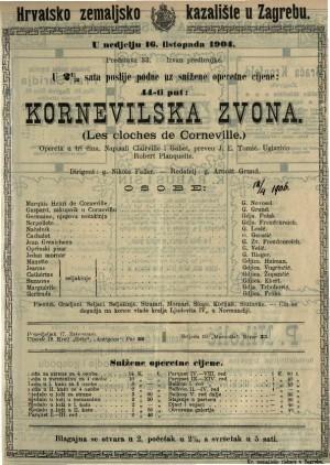 Kornevilska zvona opereta u tri čina / uglazbio Robert Planquette  =  Les cloches de Corneville