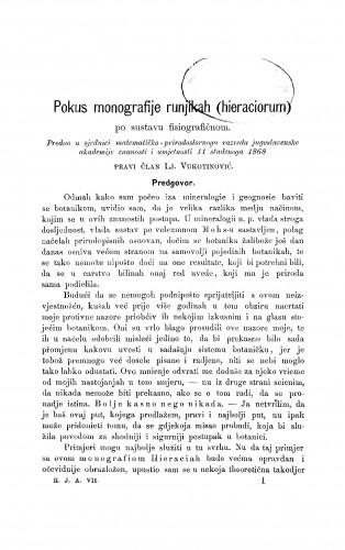 Pokus monografije runjikah (hieraciorum) po sustavu fisiografičnom : RAD