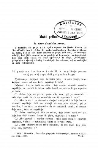 Iz strane glagolske proze : mańi prilozi : Zbornik za narodni život i običaje