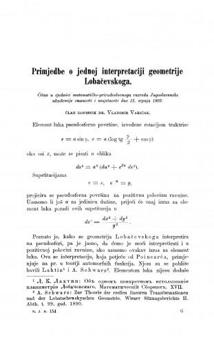 Primjedbe o jednoj interpretaciji geometrije Lobačevskoga