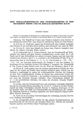 Eine Verallgemeinerung des Potenzbegriffes in der isotropen Ebene und im einfach isotropen Raum