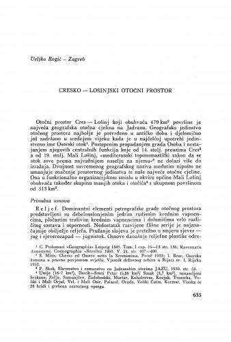Cresko-lošinjski otočni prostor / V. Rogić