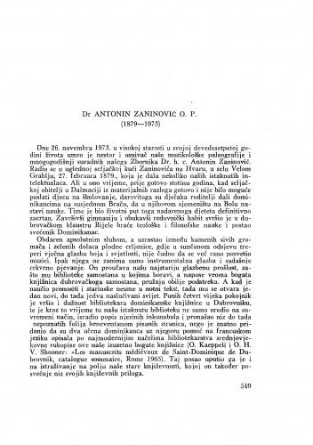 Dr Antonin Zaninović O. P. (1879-1973) : [nekrolog] / B. Gušić