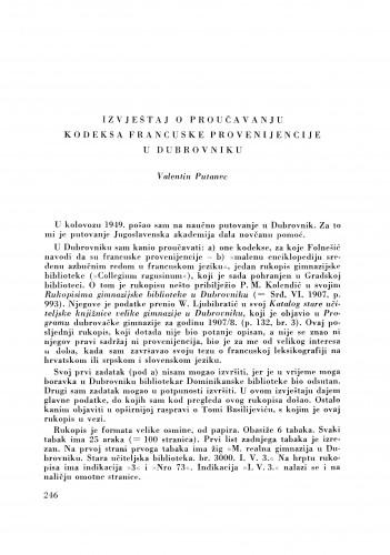 Izvještaj o proučavanju kodeksa francuske provenijencije u Dubrovniku / V. Putanec