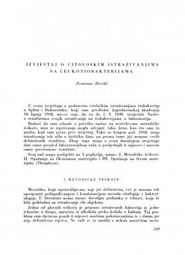 Izvještaj o citološkim istraživanjima na leukotiobakterijama / Z. Devidé
