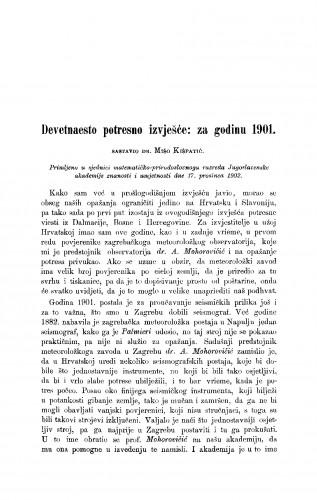 Devetnaesto potresno izvješće: za godinu 1901.