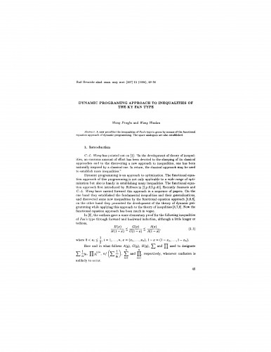 Dynamic programing approach to inequalities of the Ky Fan type