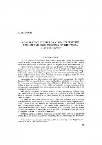 Comparative studies on alphaherpesvirus murium and some members of the family Herpesviridae
