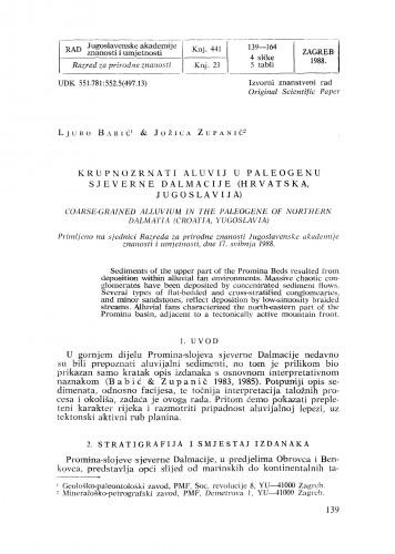 Krupnozrnati aluvij u paleogenu sjeverne Dalmacije (Hrvatska, Jugoslavija)