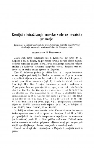 Kemijsko istraživanje morske vode uz hrvatsko primorje