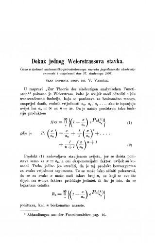 Dokaz jednog Weierstrassova stavka