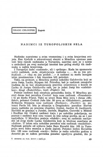 Nadimci iz turopoljskih sela / D. Chloupek