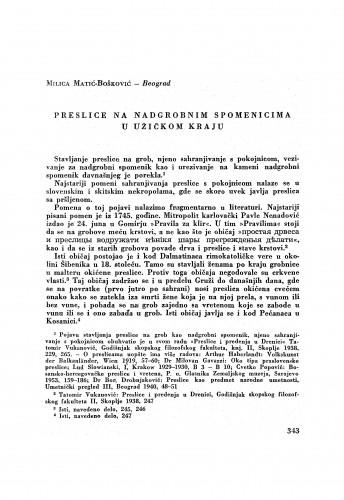 Preslice na nadgrobnim spomenicima u užičkom kraju / M. Matić-Bošković