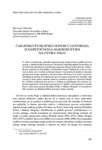 Čakavsko-štokavski odnosi u govorima jugoistočnoga makrosustava na otoku Pagu / Silvana Vranić