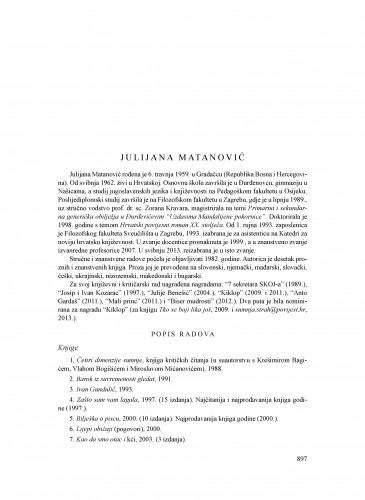 Julijana Matanović : Ljetopis