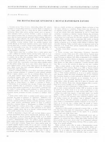 Tri restauracije izvedene u Restauratorskom zavodu : Bulletin Instituta za likovne umjetnosti Jugoslavenske akademije znanosti i umjetnosti