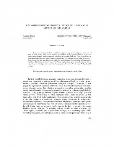 Razvoj pomorskog prometa i trgovine u Dalmaciji od 1850. do 1880. godine : Radovi Zavoda za povijesne znanosti HAZU u Zadru