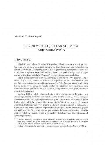 Ekonomsko djelo akademika Mije Mirkovića