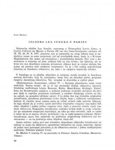 Izložba Lea Juneka u Parizu : Bulletin Razreda za likovne umjetnosti Jugoslavenske akademije znanosti i umjetnosti