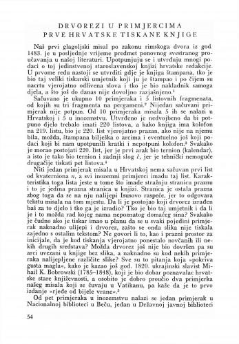 Drvorezi u primjercima prve hrvatske tiskane knjige : Bulletin Zavoda za likovne umjetnosti Jugoslavenske akademije znanosti i umjetnosti