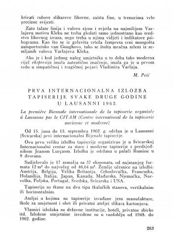 Prva internacionalna izložba tapiserije u Lausanni 1962. : Bulletin Zavoda za likovne umjetnosti Jugoslavenske akademije znanosti i umjetnosti