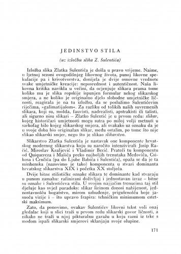 Jedinstvo stila : Bulletin Odjela VII. za likovne umjetnosti Jugoslavenske akademije znanosti i umjetnosti
