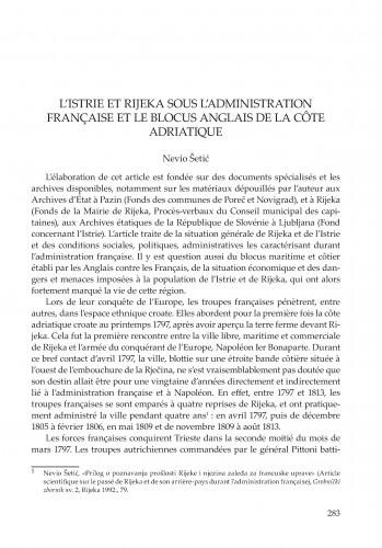 L' Istrie et Rijeka sous l'administration française et le blocus anglais dela côte adriatique