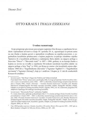 Otto Kraus i Thalia essekiana : Krležini dani u Osijeku