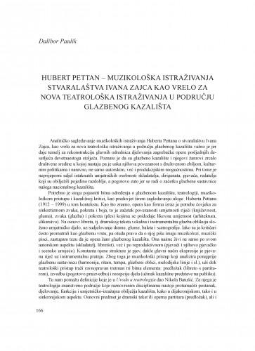Hubert Pettan - muzikološka istraživanja stvaralaštva Ivana Zajca kao vrelo za nova teatrološka istraživanja u području glazbenog kazališta : Krležini dani u Osijeku