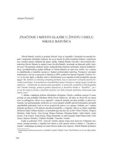 Značenje i mjesto glazbe u životu i djelu Nikole Batušića : Krležini dani u Osijeku