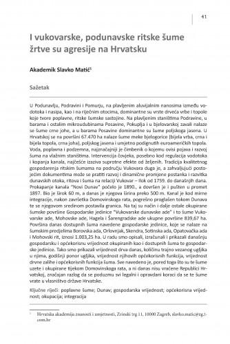 I vukovarske, podunavske ritske šume žrtve su agresije na Hrvatsku : Posebna izdanja / Hrvatska akademija znanosti i umjetnosti, Centar za znanstveni rad u Vinkovcima