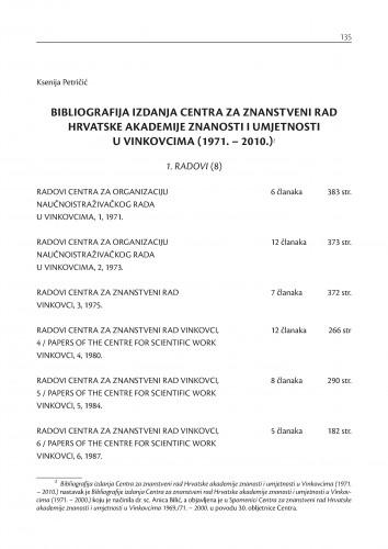 Bibliografija izdanja  Centra za znanstveni rad Hrvatske akademije znanosti i umjetnosti u Vinkovcima (1971.-2010.) : Posebna izdanja / Hrvatska akademija znanosti i umjetnosti, Centar za znanstveni rad u Vinkovcima