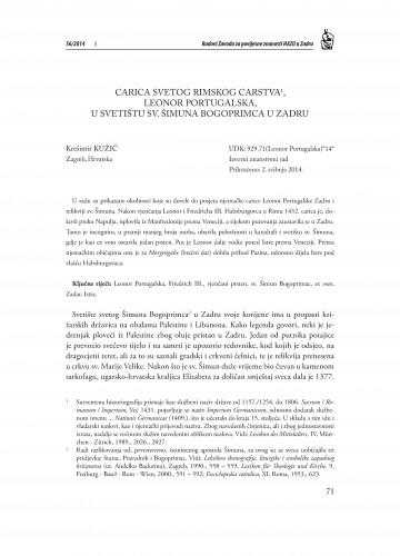 Carica Svetog Rimskog carstva, Leonor Portugalska, u svetištu sv. Šimuna Bogoprimca u Zadru : Radovi Zavoda za povijesne znanosti HAZU u Zadru