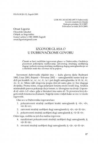 Izgovor glasa o u dubrovačkome govoru : Filologija : časopis Razreda za filološke znanosti Hrvatske akademije znanosti i umjetnosti