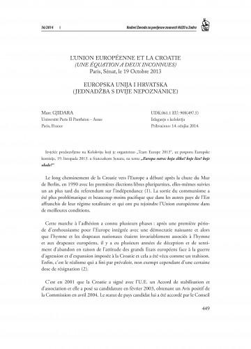 L'Union Européenne et la Croatie (une équation a deux inconnues), Paris, Sénat, le 19 Octobre 2013 : Radovi Zavoda za povijesne znanosti HAZU u Zadru