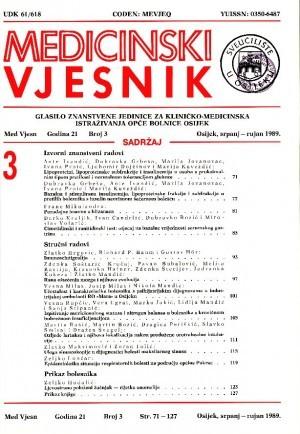 God. 21, br. 3(1989) : Medicinski vjesnik