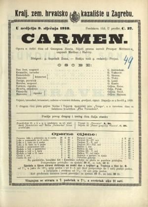 Carmen : Opera u četiri čina / Prema istoimenoj noveli Prospera Mériméea