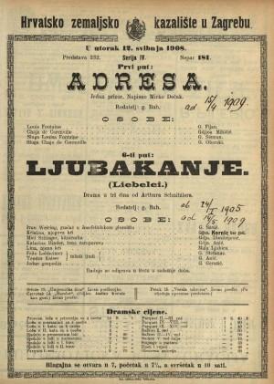 Adresa ; Ljubakanje Jedan prizor ; Drama u tri čina  =  Liebelei