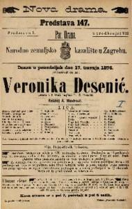 Veronika Desenić drama u 5 činah / napisao Fr. Ž. Pretočki