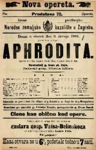 Aphrodita Operetta u 3 čina / Uglasbio Ivan pl. Zajc