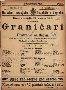 Graničari Izvorni narodni igrokaz s pjevanjem u 3 razdjela / Napisao Josip Freudenreich