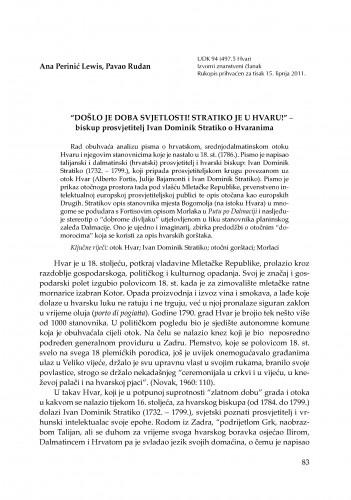 """""""Došlo je doba svjetlosti! Stratiko je u Hvaru!"""" - biskup prosvjetitelj Ivan Dominik Stratiko o Hvaranima : RAD"""
