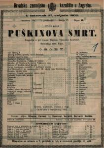 Puškinova smrt : tragedija u pet činova / napisao Vjekosla Košćević
