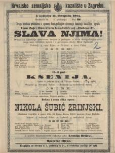 Nikola Šubić Zrinjski glazbena tragedija u osam slika / od Ivana Zajca