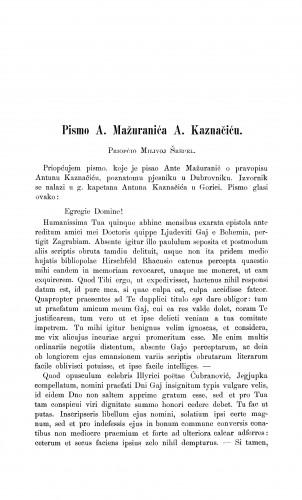 Pismo A. Mažuranića A. Kaznačiću : Građa za povijest književnosti hrvatske