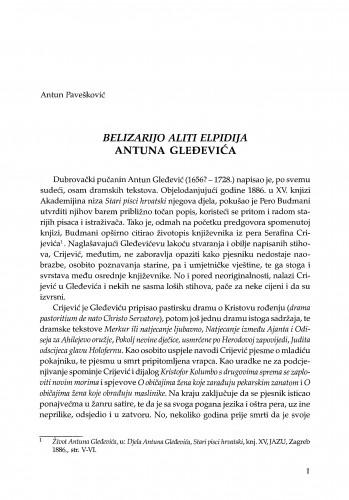 Belizarijo aliti Elpidija Antuna Gleđevića / Antun Pavešković