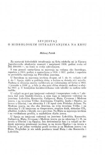 Izvještaj o hidrološkim istraživanjima na Kršu / M. Petrik