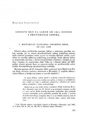 Izborni red za Sabor od 1861. godine i provođenje izbora