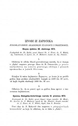 Izvodi iz zapisnika Jugoslavenske akademije znanosti i umjetnosti [1872-1873] : RAD