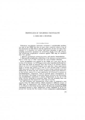 Prophylaxis of tick-borne encephalitis